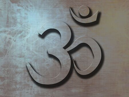 metal plate with the om am symbol on it photo