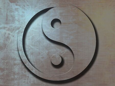 yang ying: yin yang sign on a metal plate background