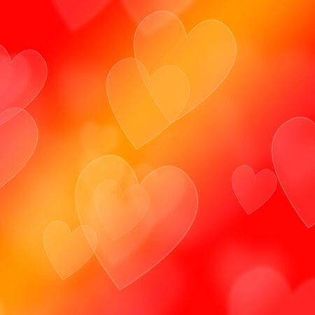 heartache: collection of hearts on an orange background