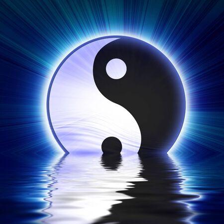ying: Yin yang symbol on a soft blue background Stock Photo