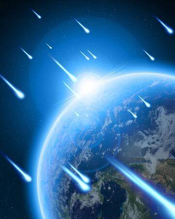 meteor: Meteorschauer auf dunkelblauem Hintergrund