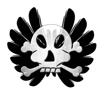 skull with wings on a white background photo