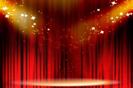 Curtain background with spotlights and glitters on it Stock Photo