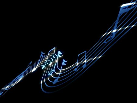 music notes on a dark black background Stock Photo - 5659306