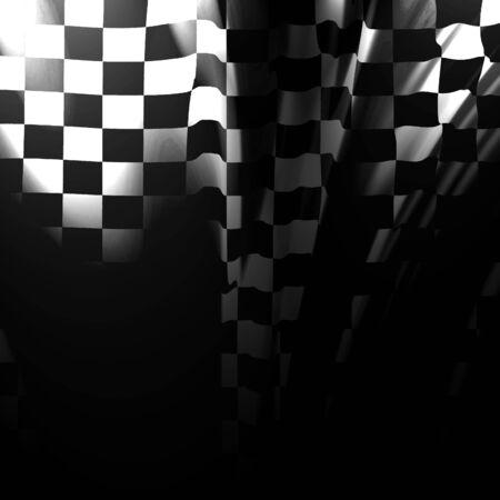motor race: Geruite vlag wappert in de wind met sommige plooien  Stockfoto