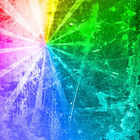 radial cracks: abstract rays on a rainbow colored background Stock Photo