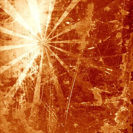 radial cracks: abstract rays on a grunge brown background Stock Photo