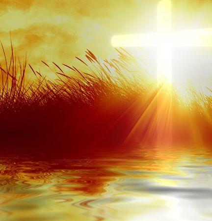 cruz de jesus: hierba de marram con una cruz cristiana en ella