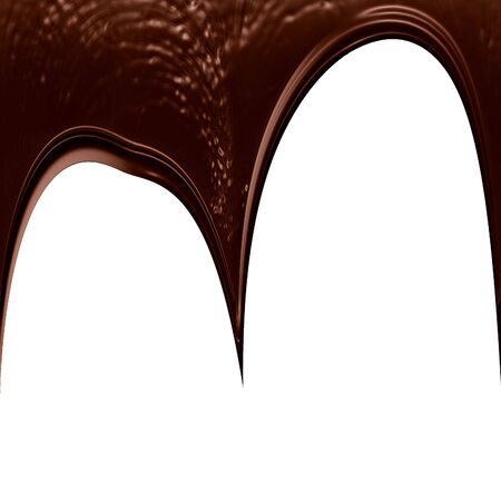 chocolate dripping down on a solid white background photo