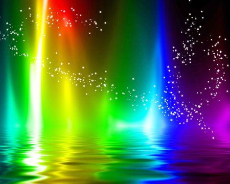 rainbow flames on a dark black background photo