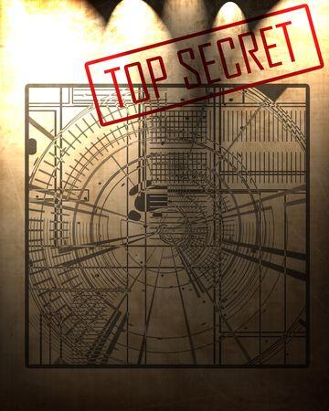 old top secret blueprint on a vintage looking background