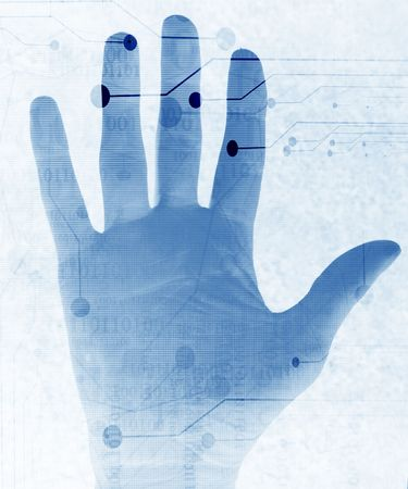 access granted: hand scan on a soft blue background