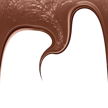 chocolate dripping down on a white background photo