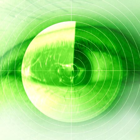 retina scan: eye scan on a soft green background
