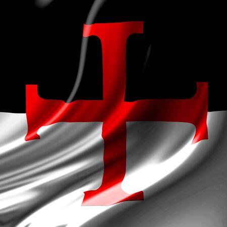 knights templar: templar cross on a black and white flag