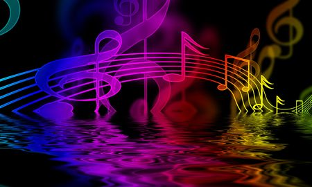 colourful music notes on a black background photo