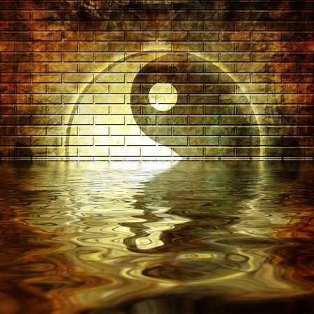 yin yang: Muro de grunge con graffiti yin yang s�mbolo en ella