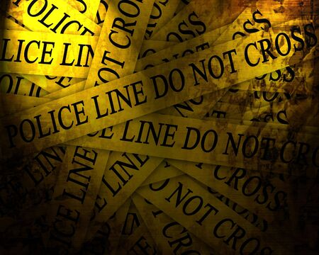 crime scene tape: Police line do not cross with some damage on it