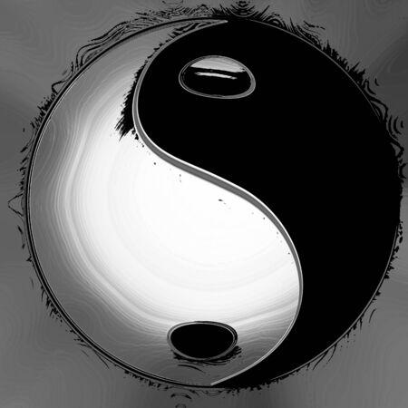 yin yang symbol on a grey silver background photo