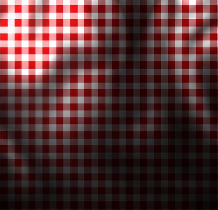 red picnic cloth with some folds in it photo