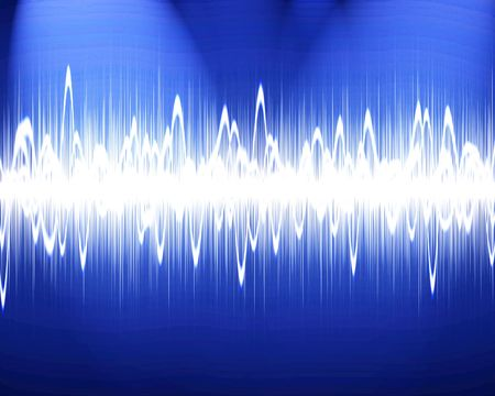 Visual representation of a soundwave on a blue background photo