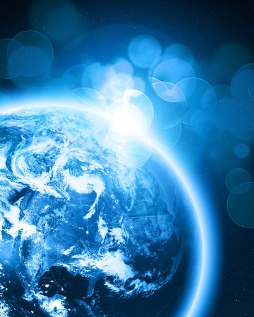 earthlike: Blue earth in outer space on a dark background