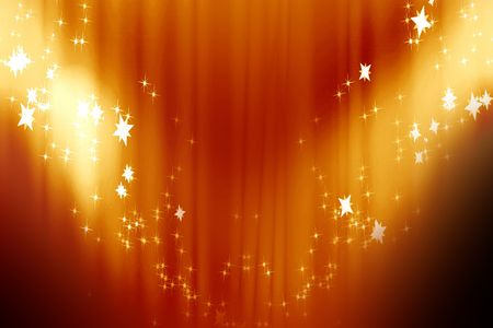 famous star: Curtain background with spotlights and some glitters