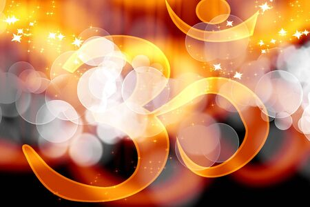 eastern philosophy: om aum symbol on an orange background