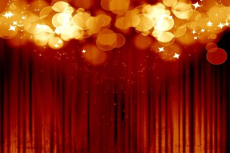 stage light: Curtain background with spotlights and glitters on it Stock Photo
