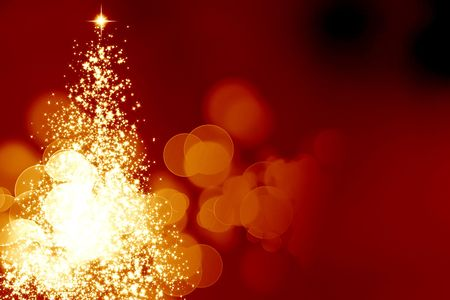 Abstract christmas tree on a dark red background