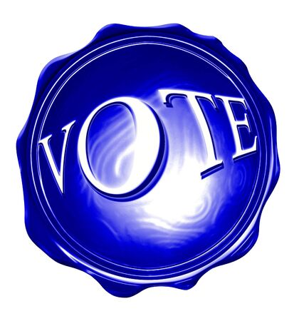 primaries: blue wax seal with vote written on it