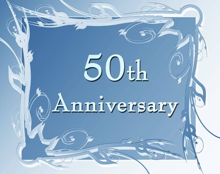 fiftieth: 50th anniversary on a soft blue background Stock Photo