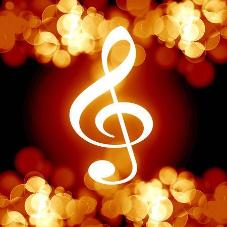 note musicale: fiammeggiante musica nota su uno sfondo scuro