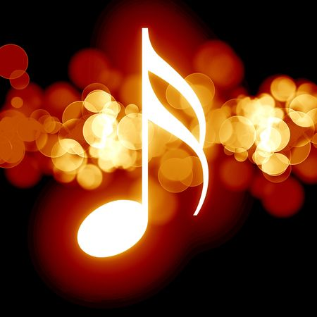 fire show: glowing music note on a dark background
