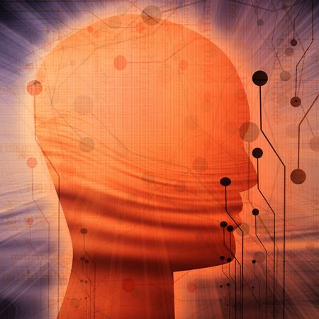 Human head silhouette with computer circuit on it Stock Photo - 5809296