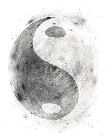 paz interior: Yin yang s�mbolo sobre un fondo blanco de grunge