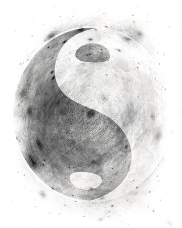 inner peace: Yin yang symbol on a grunge white background