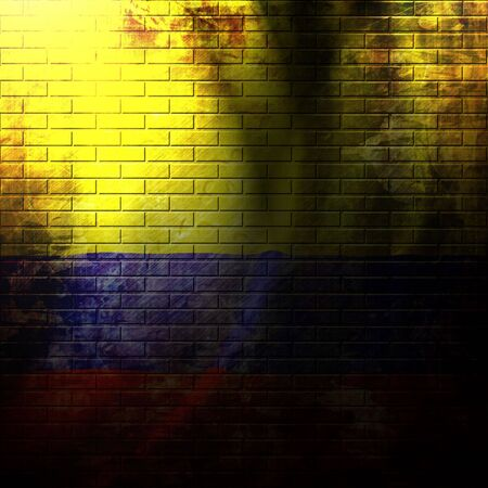 flag of colombia painted on a grunge brick wall photo