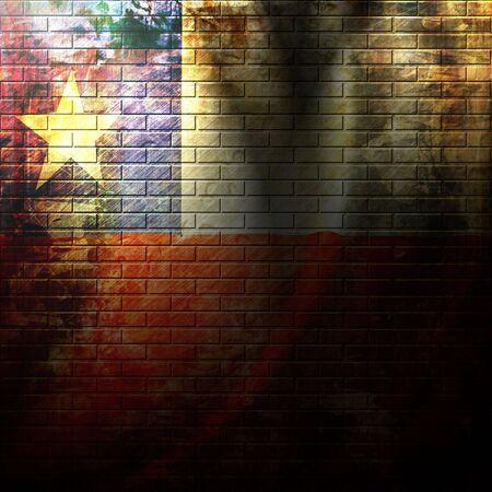bandera chilena: bandera chilena pintada en una pared de ladrillos de grunge