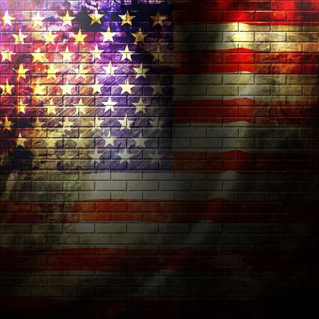 backdrop grungy: american flag painted on a grunge brick wall
