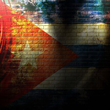 cuban flag painted on a grunge brick wall