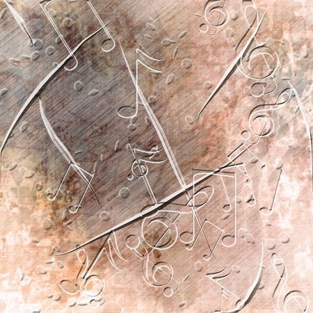 metal composition: Grunge background with musical notes on it