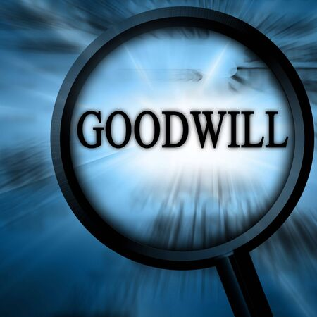 goodwill: goodwill on a blue background with a magnifier