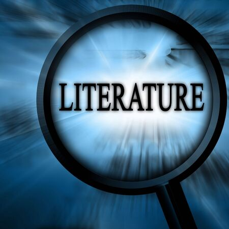 literature on a blue background with a magnifier Stock Photo - 5809044