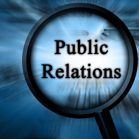 relaciones publicas: relaciones p�blicas sobre un fondo azul con un ampliador Foto de archivo
