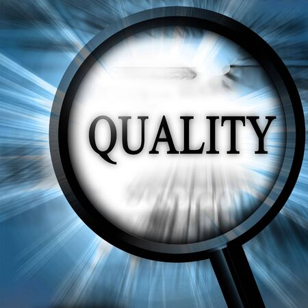regulated: quality on a blue background with a magnifier
