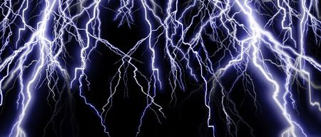 intense: Intense lightning banner on a dark background