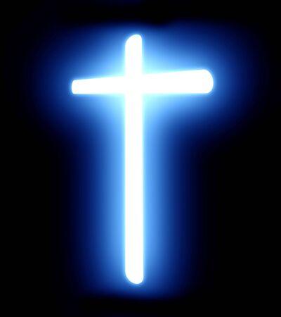 glowing cross on a dark black background photo