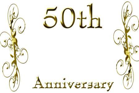 anniversaire mariage: 50e anniversaire sur un arri�re-plan blanc Uni