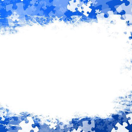 entreprise puzzle: Pi�ces du puzzle al�atoire sur un fond bleu